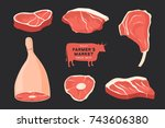 set different cuts of meats.... | Shutterstock .eps vector #743606380