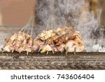 Meat Skewer On A Grill Iron ...