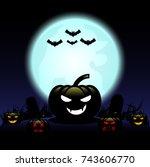 halloween pumpkins and bat on... | Shutterstock .eps vector #743606770
