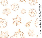 autumn seamless pattern with... | Shutterstock .eps vector #743607556