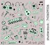 music symbols doodle set | Shutterstock .eps vector #743609536