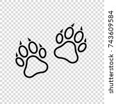 paw print icon. dog or cat paw... | Shutterstock .eps vector #743609584