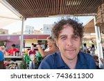 close up portrait of attractive ...   Shutterstock . vector #743611300