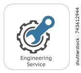 engineering service icon. gear... | Shutterstock .eps vector #743612944