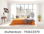white bedroom with winter... | Shutterstock . vector #743613370