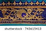 zardozi work   hand embroidery     Shutterstock . vector #743615413