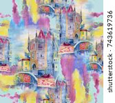 watercolor old town with... | Shutterstock . vector #743619736