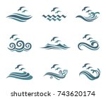 collection of ocean logo with... | Shutterstock .eps vector #743620174