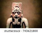 mayan or aztec statue | Shutterstock . vector #743621800