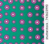hand drawn flowers seamless...   Shutterstock .eps vector #743623990