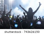 hand with a smartphone records... | Shutterstock . vector #743626150