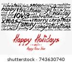 happy holidays and happy new... | Shutterstock . vector #743630740