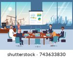 business negotiations with arab ... | Shutterstock .eps vector #743633830