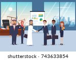 business meeting with arab... | Shutterstock .eps vector #743633854