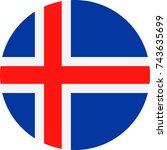 iceland flag vector round flat... | Shutterstock .eps vector #743635699