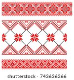set of embroidered goods like... | Shutterstock .eps vector #743636266