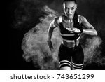a strong athletic  female... | Shutterstock . vector #743651299
