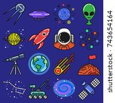 space icons set. universe...   Shutterstock .eps vector #743654164
