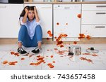 unhappy woman sitting on...   Shutterstock . vector #743657458