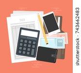 tax calculation  budget... | Shutterstock .eps vector #743662483