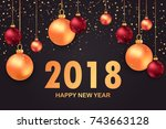new year 2018. colorful... | Shutterstock .eps vector #743663128