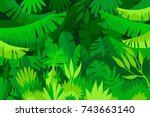 tropical forest. jungle.... | Shutterstock .eps vector #743663140