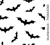 seamless pattern with bats for... | Shutterstock .eps vector #743663260