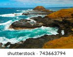 australian coast with crashing... | Shutterstock . vector #743663794