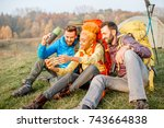 happy friends in colorful... | Shutterstock . vector #743664838