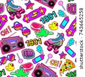 seamless pattern with colorful... | Shutterstock .eps vector #743665258