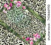 animal print  leopard texture... | Shutterstock . vector #743666950