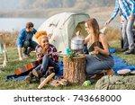 multi ethnic group of friends... | Shutterstock . vector #743668000