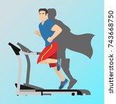 a man is running along the... | Shutterstock .eps vector #743668750