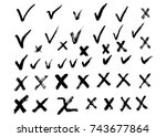 hand drawn vector check mark... | Shutterstock .eps vector #743677864