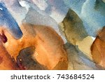 abstract watercolor painted... | Shutterstock . vector #743684524