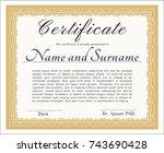 orange diploma or certificate... | Shutterstock .eps vector #743690428