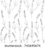 lavender flowers  leaves... | Shutterstock .eps vector #743690674