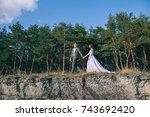 portrait of romantic newlywed... | Shutterstock . vector #743692420
