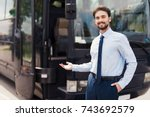 a male driver smiling and... | Shutterstock . vector #743692579