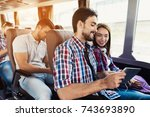 the guy and the girl are on the ...   Shutterstock . vector #743693890