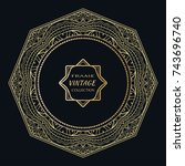 golden frame template with... | Shutterstock .eps vector #743696740