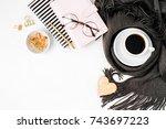 workspace with golden maple... | Shutterstock . vector #743697223