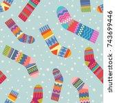seamless christmas stocking... | Shutterstock .eps vector #743699446
