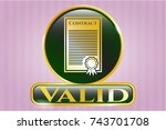 gold badge with contract icon... | Shutterstock .eps vector #743701708