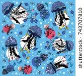 vector graphic jellyfish pattern | Shutterstock .eps vector #743707810