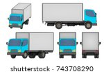 set of all views small cargo... | Shutterstock . vector #743708290