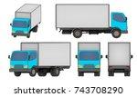 set of all views small cargo... | Shutterstock . vector #743708290