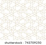 Abstract geometric pattern with crossing thin golden lines on white background. Seamless linear rapport. Stylish fractal texture. Vector pattern to fill the background, laser engraving and cutting. | Shutterstock vector #743709250