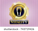 gold emblem or badge with dead ... | Shutterstock .eps vector #743719426