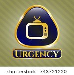 gold shiny emblem with old tv  ... | Shutterstock .eps vector #743721220